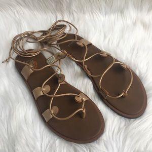 Sanuk Cleopatra Yoga Rose Gold Lace Tie Up Sandals